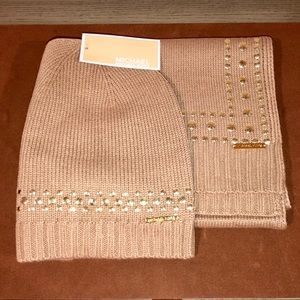 New MICHAEL KORS Studded Scarf and Beanie set